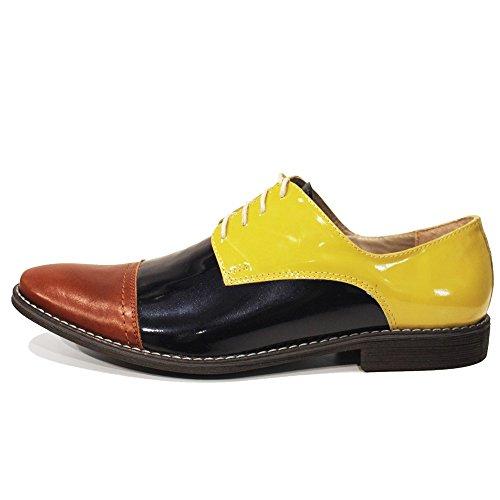 Oxfords Chaussures Lacer Modello Vachette Hommes Fiko De Handmade Italiennes Cuir Peppeshoes Verni Des Jaune Pour qRavnv6z