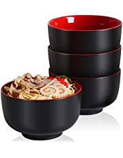 Japanese Ceramic Ramen Bowls, 38 Ounce Deep Pho Bowl for Soup, Cereal, Rice, Udon, Asian Noodles, stew, Ice Cream Bowl, Black and Red Set of 4