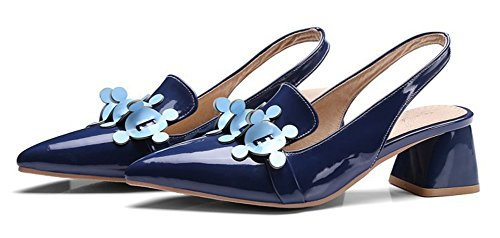 Pointu Fleurs Bleu Femme Escarpins Sexy Aisun Bout Chunky wI1HWq