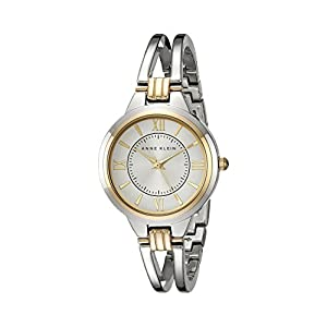 Anne Klein Women's AK/1441SVTT Two-Tone Open Bangle Watch
