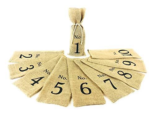 1-10 Burlap Wine Bags, Numbered Wine Tasting Bags, Wedding Table Numbers