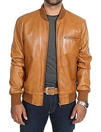 Mens Classic Bomber COGNAC Leather Jacket Bradley Soft Tan Varsity Coat