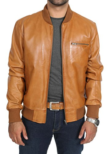 (A1 FASHION GOODS Mens Classic Bomber Leather Jacket Bradley Soft Cognac Fitted Gents Varsity Coat (Large))