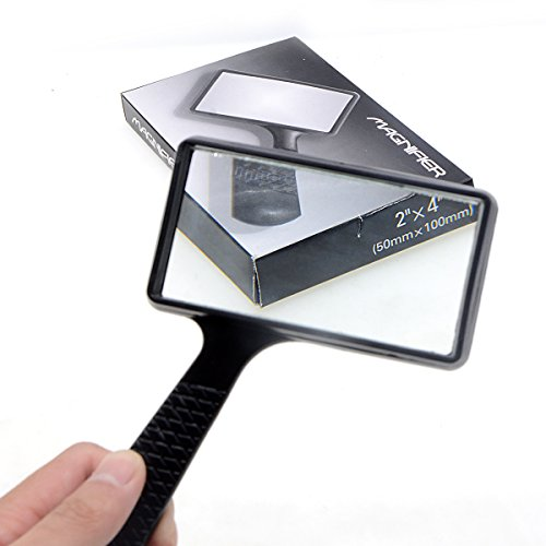 (Saim Black Style 4X Magnifier Plastic Frame Rectangle Lens Magnifying Glass)
