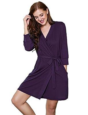 MAXMODA Womens Bathrobe Soft Kimono Cotton Knit Robe Sleepwear S-XXL
