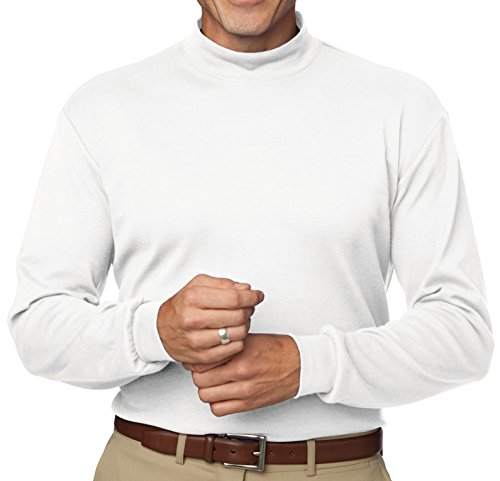 Ladies Turtleneck Mock Interlock (Upscale 100% Cotton Interlock Mock Turtleneck Tee - White, 3XL)