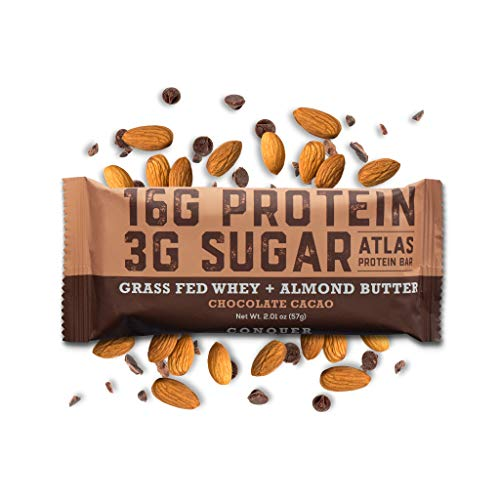 Atlas Protein Bar - Keto Friendly, Chocolate Cacao (10-Pack) - Grass Fed Whey, Low Sugar, Clean Ingredients, All Natural, Gluten Free, Soy Free, and GMO Free