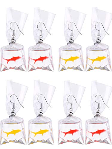(Tatuo 4 Pairs of Resin Goldfish Earrings Fish Water Bag Earrings for Women and Girls (Red and Yellow))