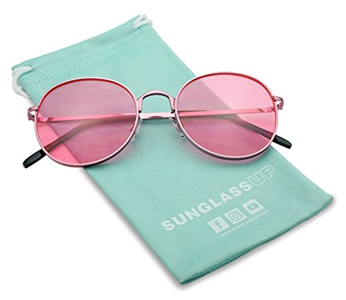 SunglassUP - Colorful Classic Vintage Round Flat Lens Lennon Style Sunglasses (Pink, 53)