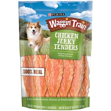 - Purina Waggin Train Chicken Jerky Dog Treats, 36-Ounce