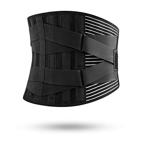 🥇 FREETOO Cinturón Lumbar Soporte Lumbar para la Espalda Ayuda de la Cintura para Aliviar El Dolor de Espalda y Prevenir Daños