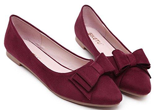 Easemax Femmes Élégant Slip On Flat Pointu Bowknot Chaussures Basses Rouges