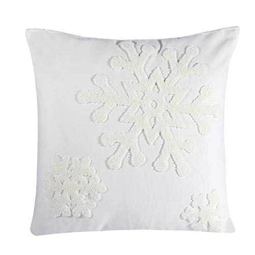 Hupplle Canvas Cotton Embroidery Throw Covers Christmas Snow Square Throw Pillow Covers White by Beauty House