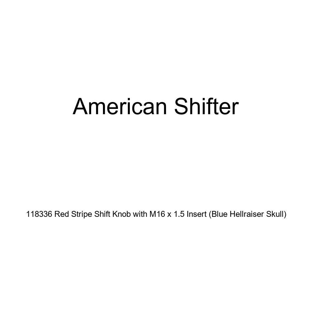 American Shifter 118336 Red Stripe Shift Knob with M16 x 1.5 Insert Blue Hellraiser Skull