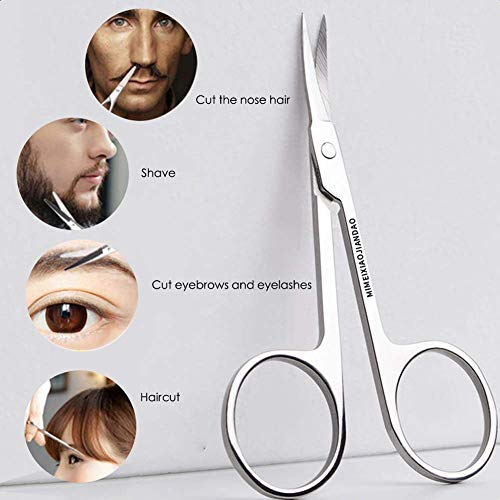 2021NEWEST Eyebrow Scissors and Three Eyebrow Brushs, beard and nose trimming scissors eyelash with curved craft stainless steel scissors