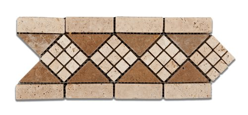 Ivory & Noce Travertine Trieste Tumbled Border / Listello - Sample Piece