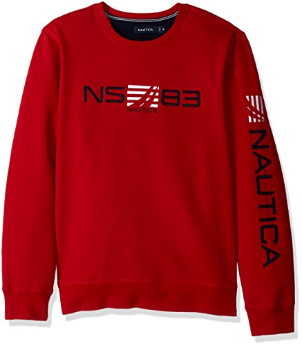 Mens Crew Red Logo Sweatshirt (Nautica Men's Long Sleeve Classic Fit Logo Crewneck Sweatshirt, Red/Red, Medium)