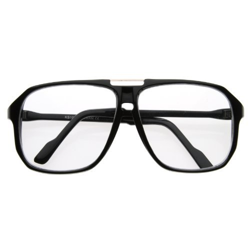 Zerouv   Square Shaped Plastic Aviator Clear Lens Glasses Eyewear With Metal Top Bridge  Black