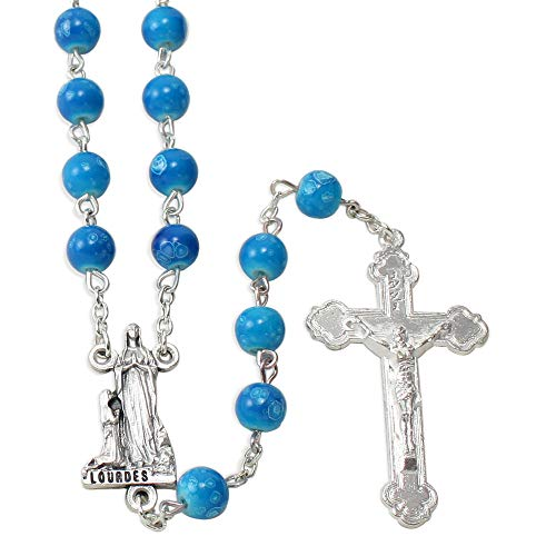 (Our Lady of Lourdes Rosary with Blue Glass Beads)