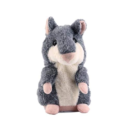STOBOK Story Talking Hamster Plush Toy Electronic Stuffed Animal Interactive Toy for Kids Early Learning Gift not Included Battery(Grey 15cm)