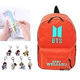 Youyouchard BTS Kpop BTS Love Yourself Tear, BTS Fluorescent Backpack + Transparent Laser Pencils Case + BTS Keychains for All Fans & Friends of BTS(H06)