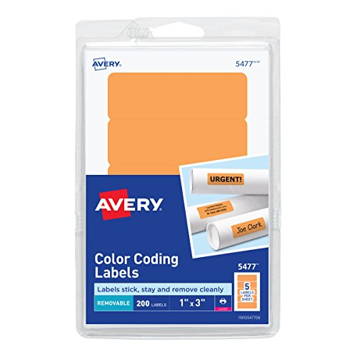 Avery Self-Adhesive Removable Labels, 1 x 3 Inches, Orange Neon, 200 per Pack ()