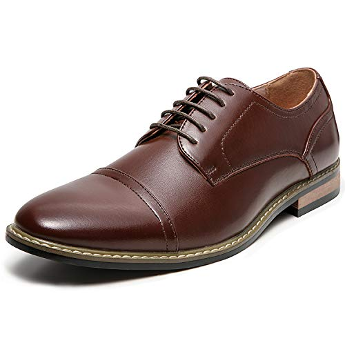 Men's Oxford Classic Cap Toe Dress Shoes Modern Lace up Leather Lined Formal Shoes for Men (11 M US, Brown2)