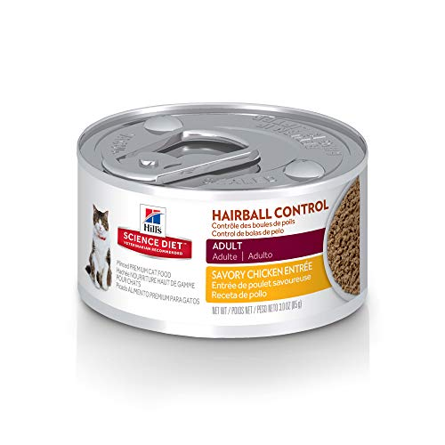 Hill's Science Diet Wet Cat Food, Adult, Hairball Control, Savory Chicken Recipe, 2.9 oz Cans, 24...