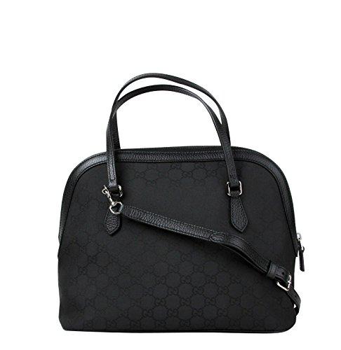Gucci Dome Black Nylon Leather Guccissima with Trim Cross Body Bag 420023 1000