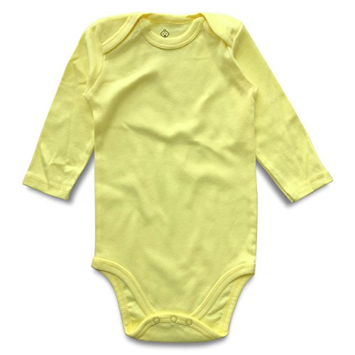 ROMPERINBOX Unisex Solid Baby Bodysuit 0-24 Months (3-6 Months, Yellow Long Sleeve) Yellow Long Sleeve Onesie