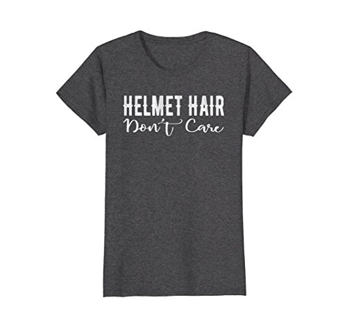 Care Womens Tee - Womens Helmet Hair Don't Care Motorcycle Bike Cycle Riding T-shirt Large Dark Heather