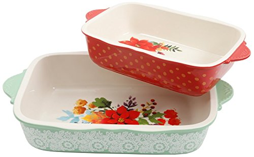 The Pioneer Woman 2- Piece Frost Bakeware Set, Green with White Frost 3.1 Qt & Red with Yellow Polka Dots 2.1 Qt, Dishwasher & Oven Safe *The Pioneer Woman