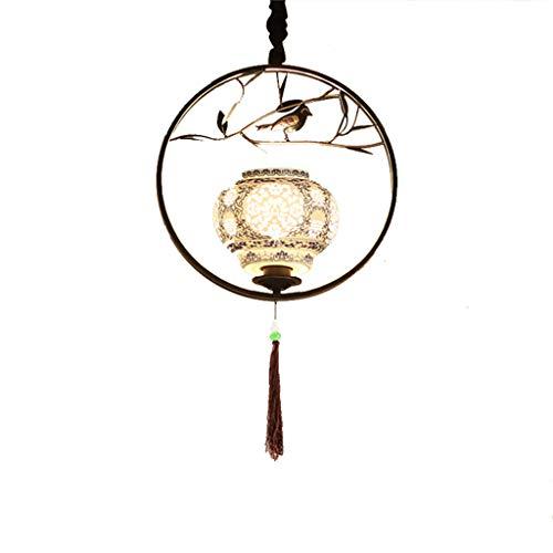 0169 Single Chandelier Qinghua Porcelain Iron-New Chinese Teahouse Restaurant Hotel Room Teahouse Lighting E27 (Color : Black)