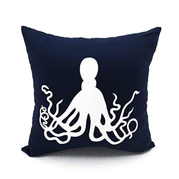Amazon.com: Pulpo fundas de almohada de color azul marino ...