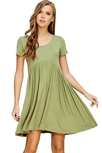 Annabelle Women's Pleated Empire Waist Loose Relaxed Short Sleeve Scoop Neck Short Dress with Slant Pockets New Olive Medium D5419