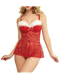 Papaya Wear Womens Red Christmas Babydolls Lingerie Set Lace Chemises