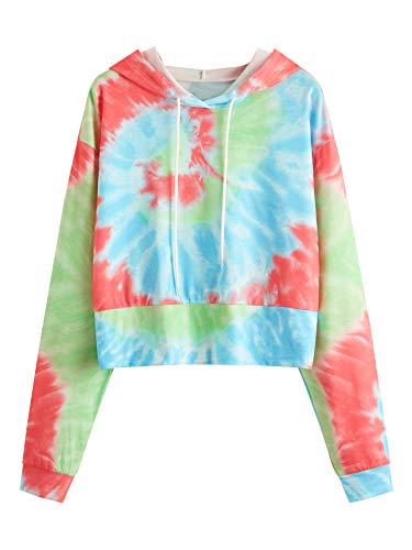 SweatyRocks Women's Causal Hooded Sweatshirt Letter Print Long Sleeve Crop Top Hoodies
