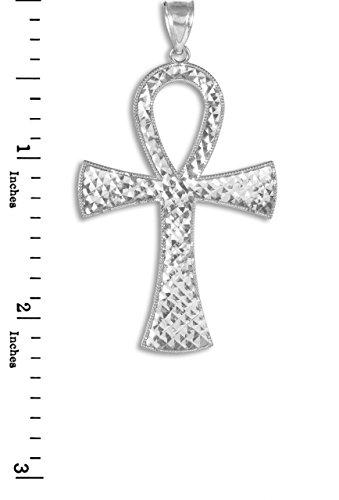 Petits Merveilles D'amour - 10 ct 471/1000 égyptienne Ankh Or Blanc Croix Pendentif