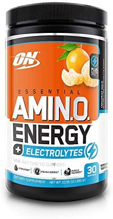 OPTIMUM NUTRITION ESSENTIAL AMINO ENERGY + Electrolytes, Tangerine Wave, Keto Friendly Preworkout and Essential Amino Acids, 30 Servings