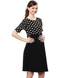 Maternity and Nursing Polka Dots Bow Waist Dress