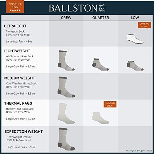 Ballston Unisex Thermal Merino Wool Ragg Socks for Winter Hiking 3 Pairs