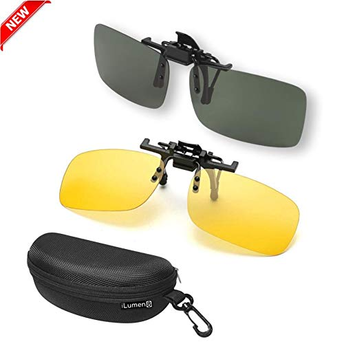 iLumen8 Best Shooting Glasses Night Vision Driving Yellow UV Safety Eye Protection Clip-On Fit-Over Prescription Glasses Riding Cycling (2 Pack Mixed (Amber-Yellow & Black))