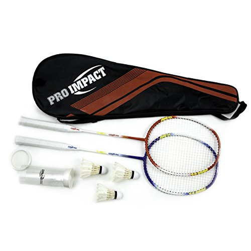 Pro Impact Badminton Set Aluminum Head w/Steel Shaft - Includes Rackets, Feather Shuttlecocks & Carry Case Outdoor Games for Kids Adults Family (2 Rackets, 3 Shuttles and Cover)