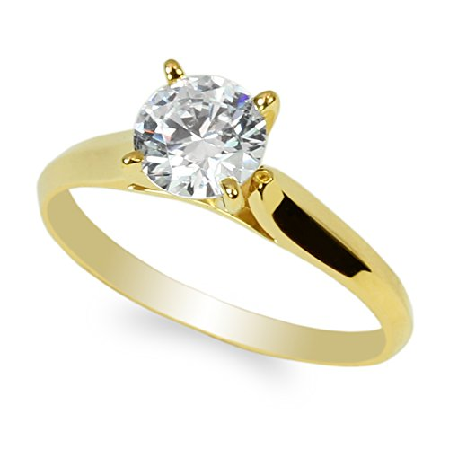 JamesJenny 10K Yellow Gold 1.0ct Round CZ Classic Solid Engagement & Wedding Solitaire Ring Size 5.5 ()