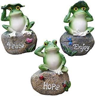 VSTAR66 - Figura de rana de resina sentada en piedra para decoración de jardín y césped, diseño de rana en miniatura, diseño de rana: Amazon.es: Hogar