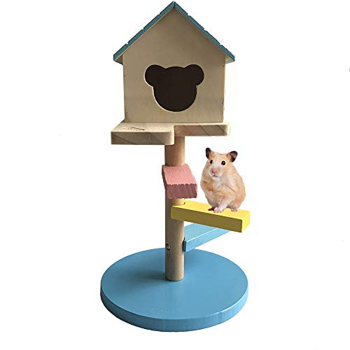 Dwarf Hamster House Wooden Hut Activity Climbing Platform Toy Small Animal Playground for Hedgehog Chinchilla Guinea Pig