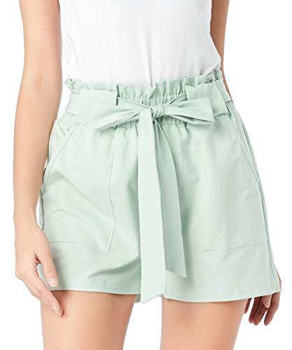 Freeprance Paper Bag Shorts for Women high Waisted Casual Shorts Elastic Waist Front PocketsDK_LGN_L