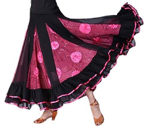CISMARK 3D Flower Micro Fiber Swing Ballroom Latin Dance Skirt for Women Rose One Size ()