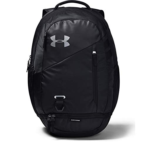 4115c0vco1L - Under Armour Hustle 4.0 Backpack, Black (001)/Silver, One Size Fits All