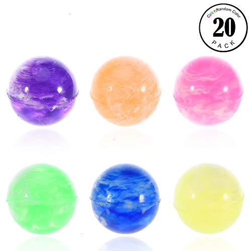 Feeko Bouncy Balls, 20 Pack 25mm Diameter Assorted Bouncing Balls Bulk Kids Rubber Swirl Bouncing Balls High Bouncing Balls